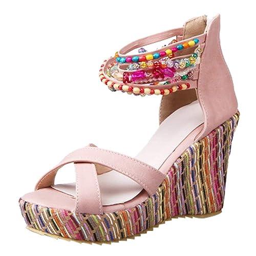Beladla Sandalias Mujer CuñA Esparto Zapatos con Cuentas Playa De Las Sandalias Pescado Shoes De TacóN