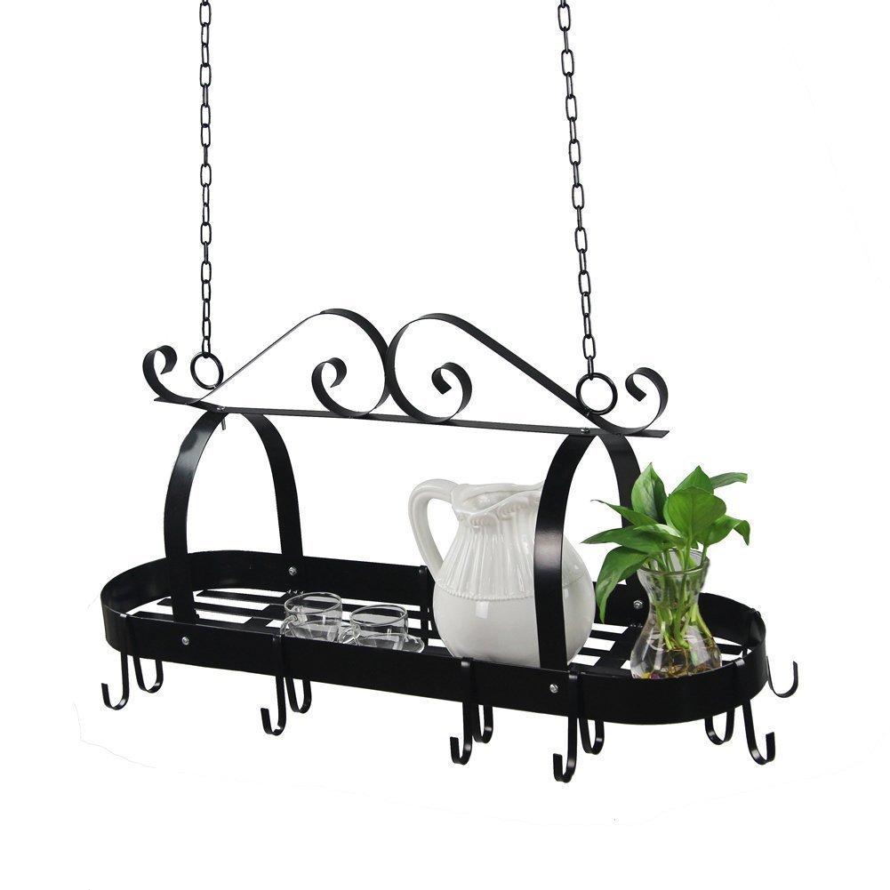 Hindom Pot Rack Ceiling Mount Cookware Rack, Decorative Oval Pan Rack Hanging Hanger Organizer with 10 Hooks, Great for Home Restaurant Kitchen Utensils, Wrought-Iron, Black (US STOCK) (Black)