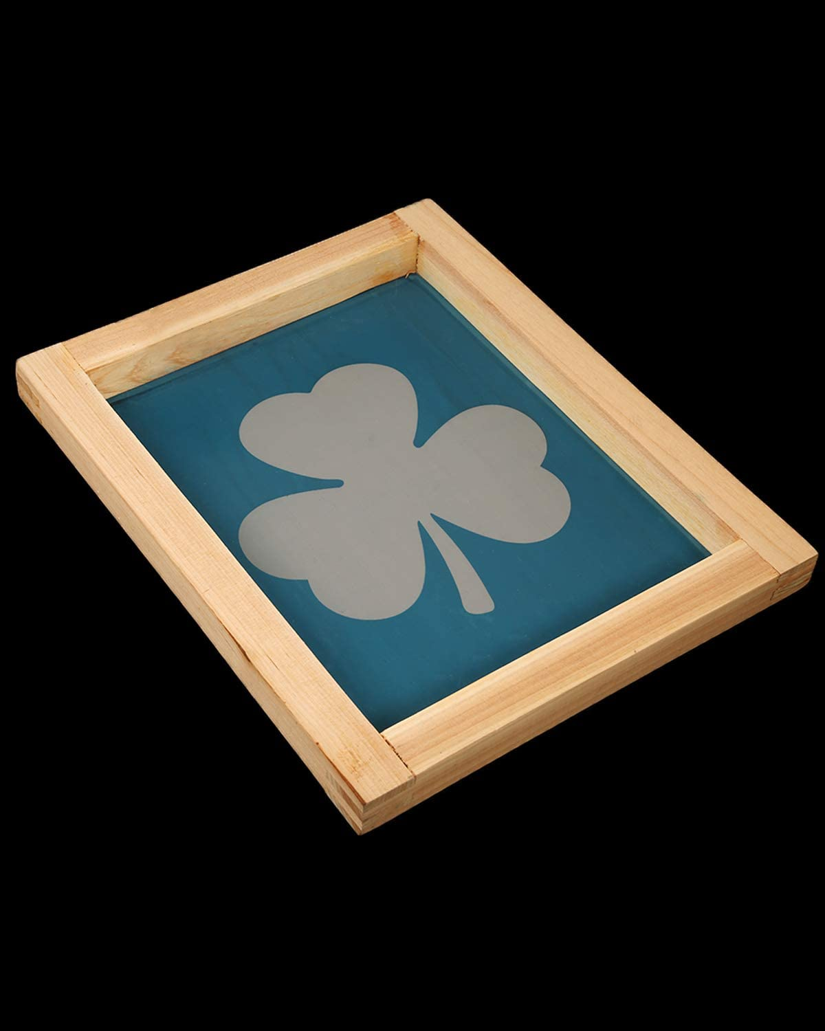 Pllieay 8 x 10 Inch Wood Screen Printing Frame with Shamrock Pattern and Plastic Scraper for St.Patrick T-Shirt Screen Printing
