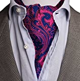 Kebs Mens Paisley Jacquard Woven Ascot Cravat Tie & Pocket Square Set Fuscia & Navy Blue