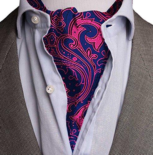 Kebs Mens Paisley Jacquard Woven Ascot Cravat & Pocket Square Set Fuscia & Navy (Point Collar Tie)