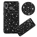 Shiny Sparkly Case for Galaxy A20/A30[with HD Screen Protector],MOIKY Luxury Bling Glitter Gel TPU Silicone Scratchproof Ultra Thin Soft Bumper Protective Case for Galaxy A20/A30,Black