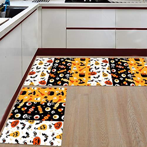 Prime Leader 2 Piece Non-Slip Kitchen Mat Runner Rug Set Doormat Halloween Candy Eyeball and Pumpkin Door Mats Rubber Backing Carpet Indoor Floor Mat (19.7
