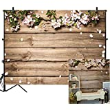 Allenjoy 8x6ft No Crease Rustic Wood Wedding Flowers Floral Backdrop Wooden Texture Board Floor Wall Photography Backgrounds Bridal Shower Baby Shower Birthday Party Banner Photo Studio Props