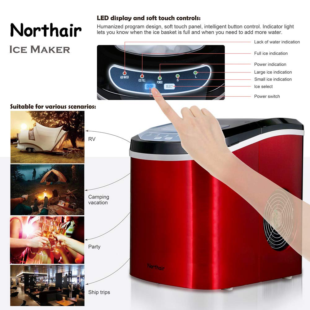 Black Northair HZB-12//SA Portable Ice Maker Machine Counter Top with 26lbs Daily Capacity Stainless Steel Colorful