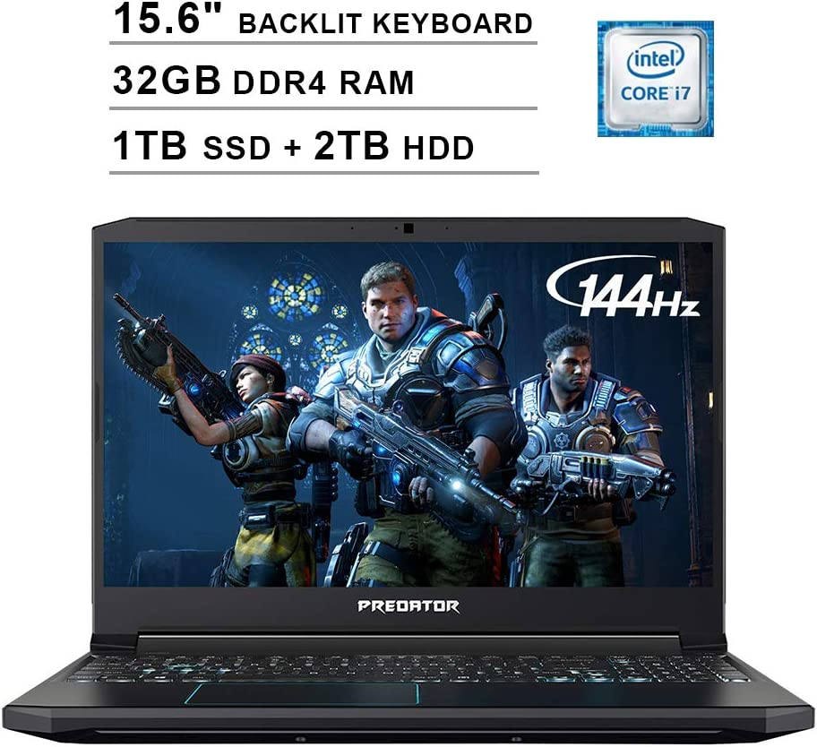Acer 2020 Predator Helios 300 15.6 Inch FHD Gaming Laptop (9th Gen Intel 6-Core i7-9750H up to 4.5 GHz, 32GB RAM, 1TB PCIe SSD + 2TB HDD, Backlit Keyboard, GTX 1660 Ti, WiFi, Bluetooth, Win 10)
