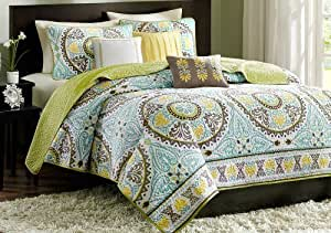 Green, Turquoise, Yellow & Brown Full / Queen Quilt, Shams & Toss Pillows (6 Piece Bed In A Bag) by MODERNhome