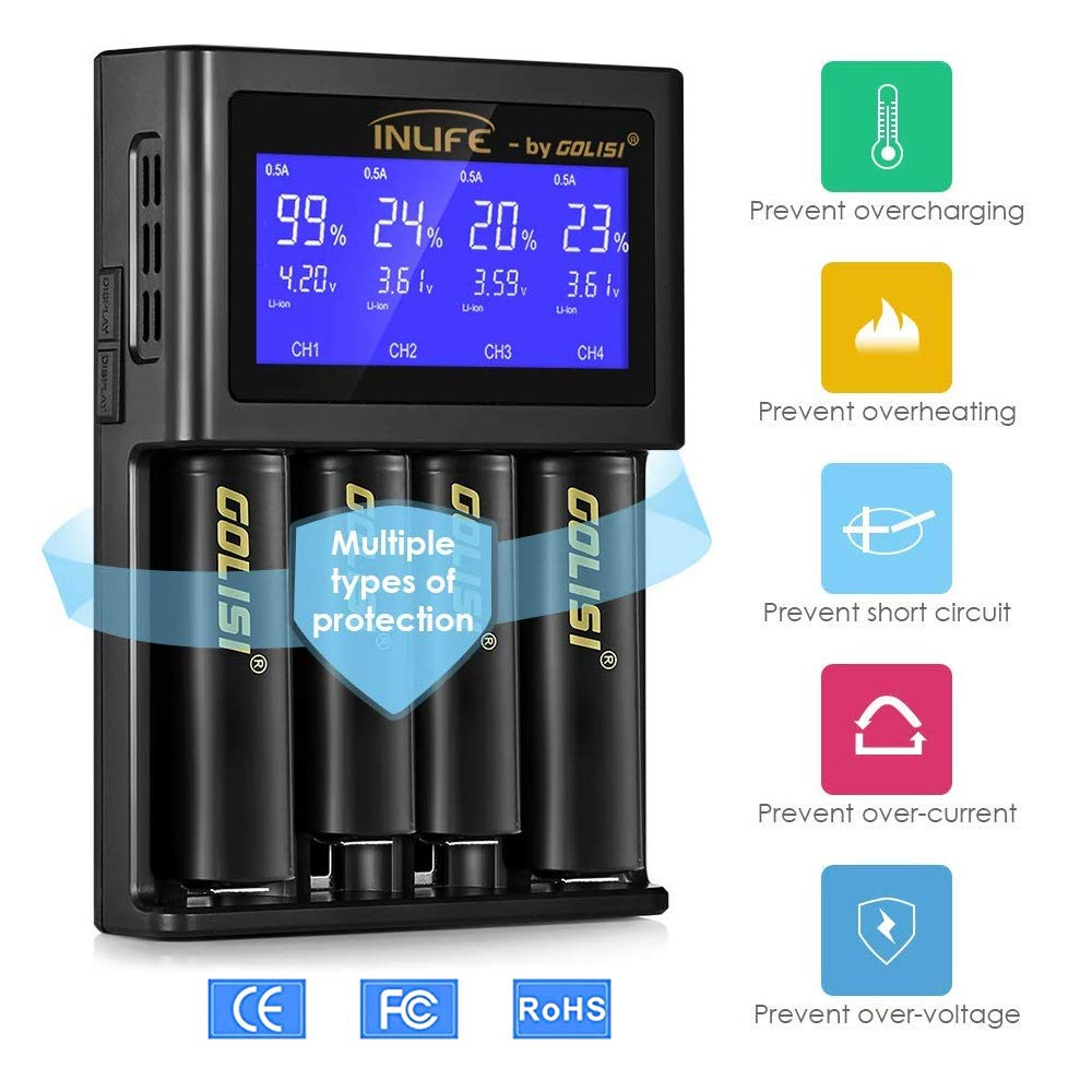 Battery Charger, INLIFE Speedy Smart Recharger with LCD Display Universal for Rechargeable Batteries Ni-MH Ni-Cd A AA AAA AAAA C SC, Li-ion 18650 26650 26500 20700 22650 18490 17670 (4-Bay)