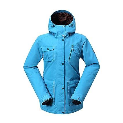 Gsou Snow Mujer Resistente al viento Capucha acolchada – Chaqueta transpirable, impermeable abrigo exterior deportes