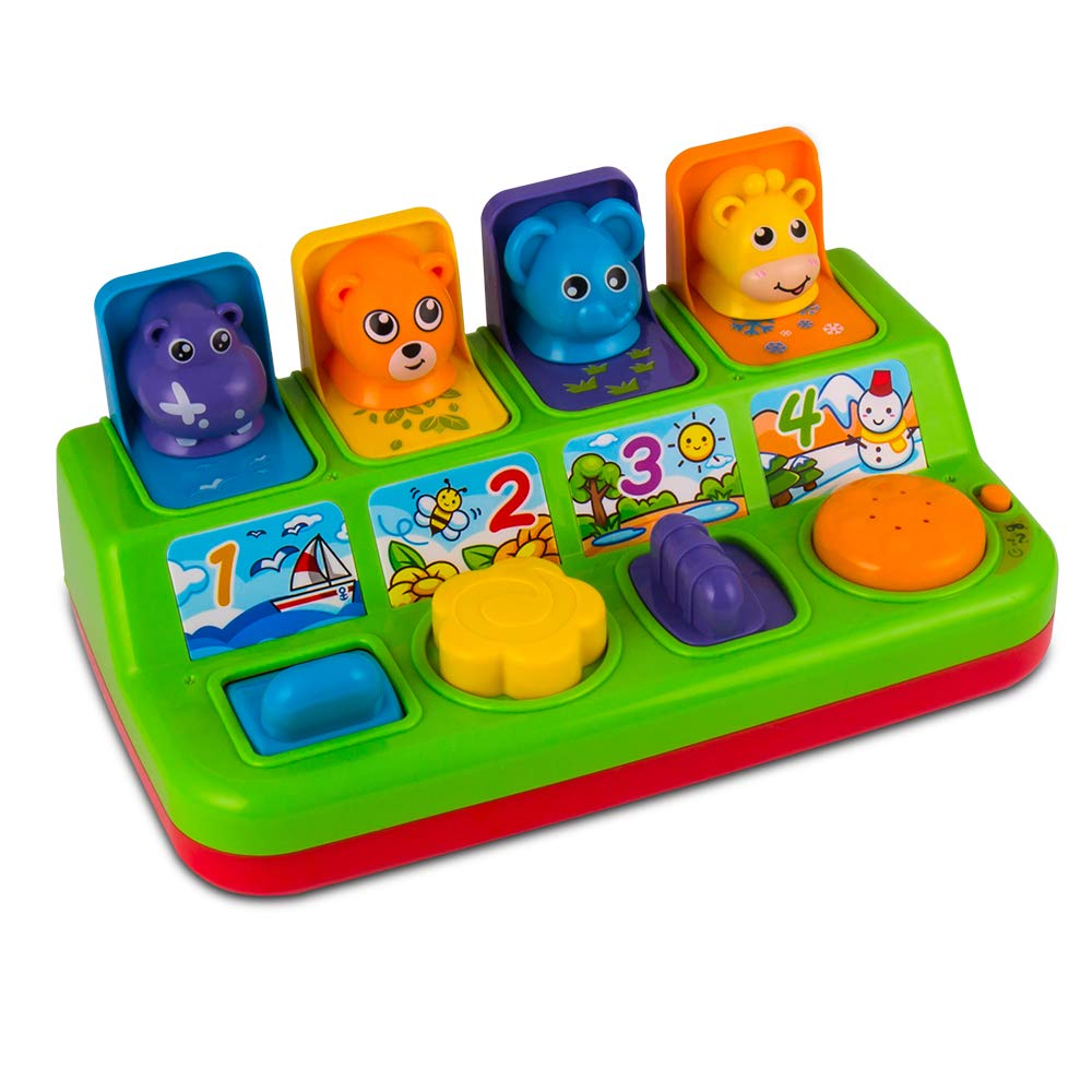YEEBAY Interactive Pop Up Animals Toy with Music, Animal Sound, Activity Toys for Ages 9 - 12 - 18 Months &1 Year Old Kids, Babies, Toddlers, Boys & Girls