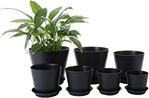 Genenic Pack of 7 Planters Flower Pot, 8/7/6/5.5/5/4.5/4Inch Plastic Flower Pots Indoor Decorative,Patio Garden with Drainage Hole and Tray for All House Succulents and Flowers Plants(Black)