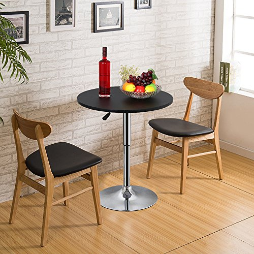 Round Pub Bar Bistro Table Patio Restaurant Cocktail Pedestal Table Adjustable Hight Swivel   Black by Unknown