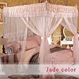 Royal- European Style Square Top Mosquito Net Three-door Encryption Thickening Single Double Bed Aluminum Alloy Bracket Jade Color ( Size : 1.2m (4 feet) bed )