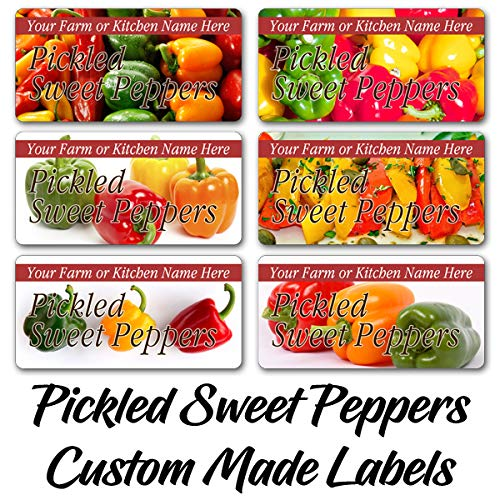 Pickled Sweet Peppers Rectangle Labels Customized Personalized Home Kitchen Farm Name Stickers (SP-01)