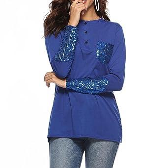 Perspectiva de la Camisa de Encaje para Mujer, Covermason Blusa de Mujer Talla Grande Camisa de Manga Larga de Encaje Botón de Perspectiva Arriba Mujer ...