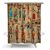 JANNINSE Africa Shower Curtain, 72 X 80 Inches, Egyptian Ancient Civilization Fabric Curtains 12 Hooks Custom Waterproof Bathroom Decoration