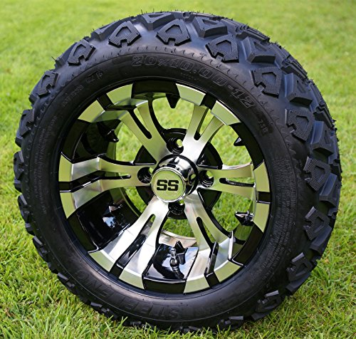 /Black Golf Cart Wheels and 20x10-12 DOT All Terrain Golf Cart Tires - Set of 4 - NO LIFT REQUIRED (read description) (Yamaha Golf Cart Lift Kits)