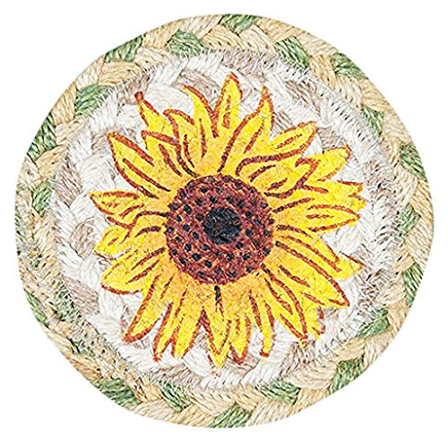 Earth Rugs Original Sunflower Set of 4 Coasters Set-IC529SUN Yellow and Green 5 inch Size