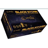 Mediflex Storm Heavy Duty Black Nitrile Gloves - Powder Free, Weight 6.5g, 0.15mm Thickness, 245mm Cuff Length, Micro Textured Fingertips, Latex Free, Non Sterile, Ambidextrous for Mechanical Repair, Beauty & Hair Salon, Tattoo Shops etc (XL)
