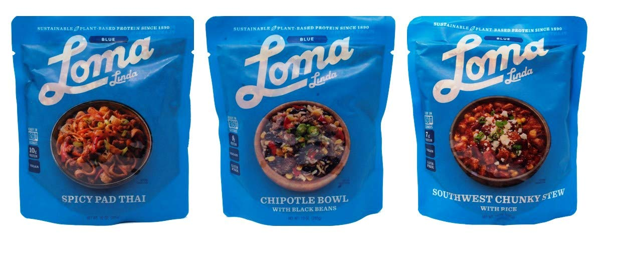 Loma Linda Heat & Eat Gluten Free Vegan Meal 3 Flavor Variety Bundle, (1) each: Spicy Pad Thai, Chipotle Bowl, Southwest Chunky Stew (10 Ounces)
