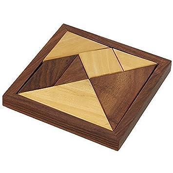 Hechos A Mano De Madera Tangram 7 Piece Jigsaw Puzzle Juegos De