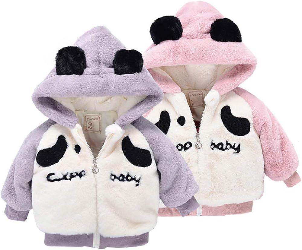 kaiCran Toddler Baby Boys Girls Panda Thick Coat Cute Cartoon Hooded Coat Zipper Winter Warm Outerwear Clothes