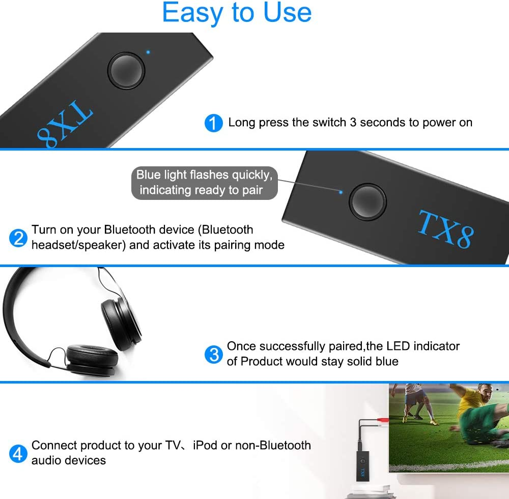 MP3//MP4 CD Player-Stereo Music Transmission Aigital Bluetooth Transmitter for TV PC Wireless Audio Transmitter Portable Bluetooth Adapter aptX Low Latency Wirless Bluetooth Adapter for TV