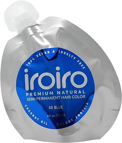 Tinte Iroiro premium, natural y semipermanente para el pelo, color 40 iro azul, 113 g.