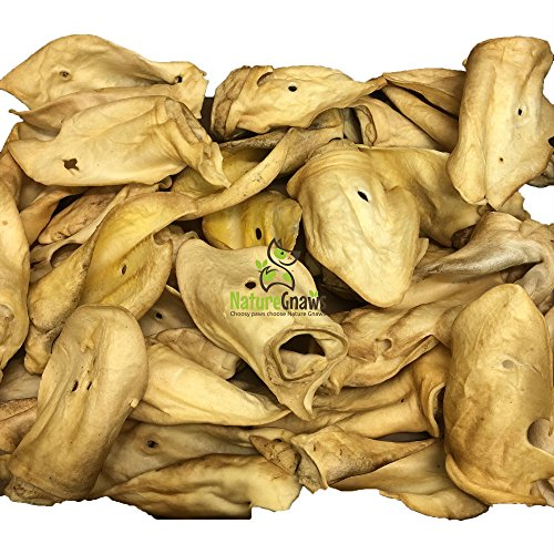 100% Cow (Nature Gnaws Large Whole Cow Ears (25 Pack) - 100% Premium All Natural Free-Range Grass-Fed Beef - Cow Ear Dog Chews)
