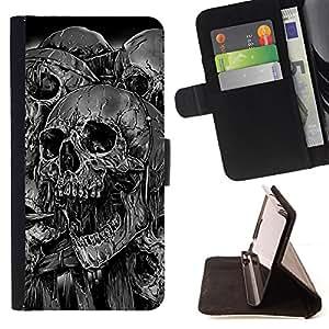 KingStore / Leather Etui en cuir / Samsung Galaxy S3 MINI 8190 / Goth Evil Skulls B & W