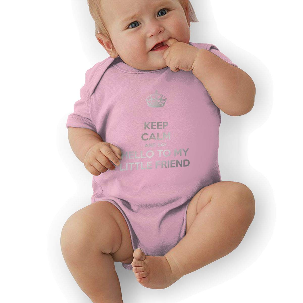 Infant Baby Girls Bodysuit Short-Sleeve Onesie Keep Calm and Say Hello to My Little Friend Print Rompers Winter Pajamas