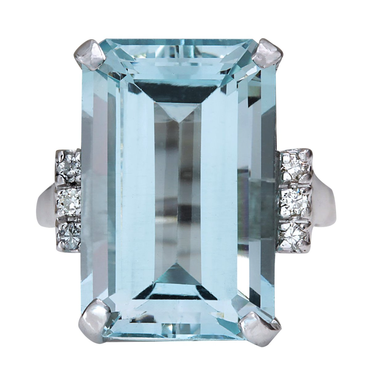 16.42 Carat Natural Blue Aquamarine and Diamond 14K White Gold Luxury Cocktail Ring for Women