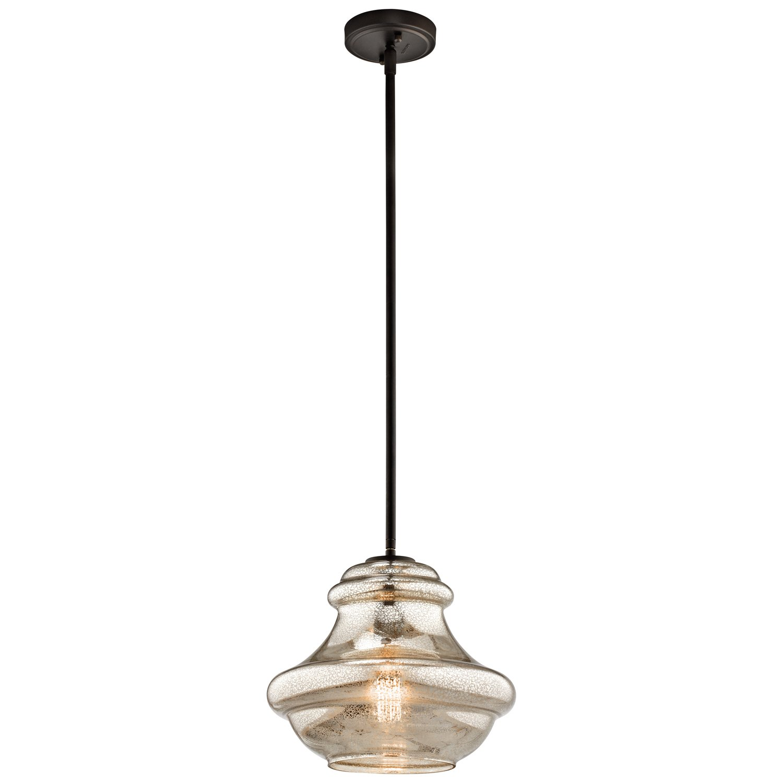 Kichler 42044OZMER, Everly Blown Glass Round Pendant, 1 Light, Olde Bronze
