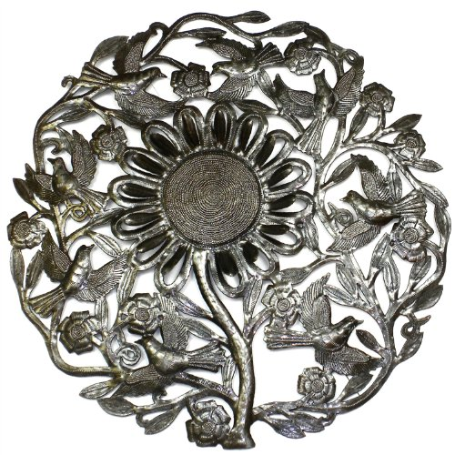 "Global Crafts 24"" Recycled Handmade Haitian Metal Wall Art Bird Motif, Sunflower"