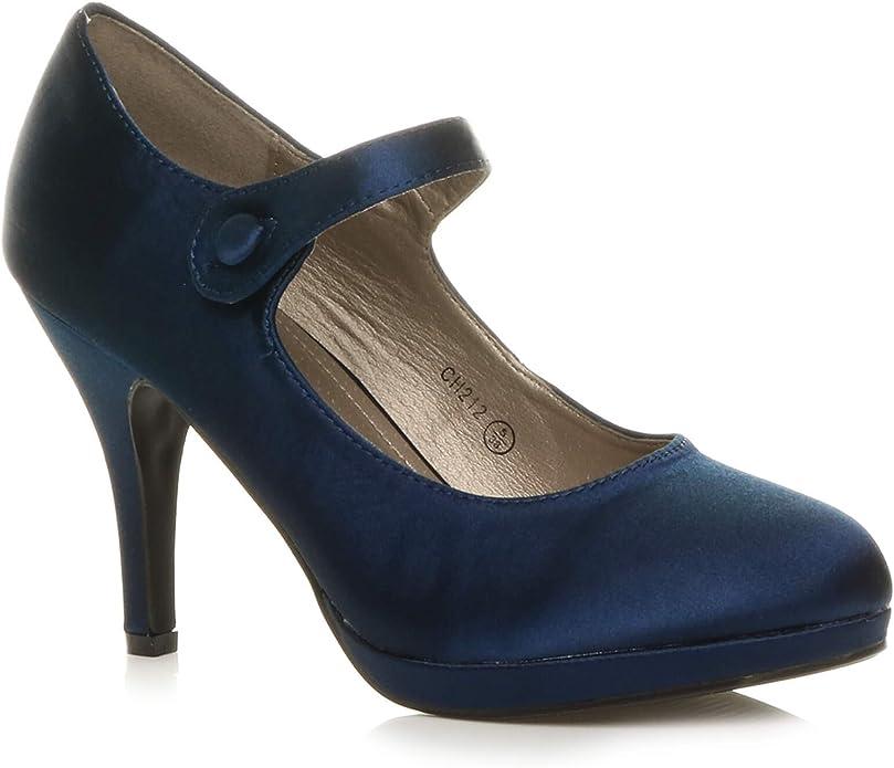 TALLA 36 EU. Ajvani - Zapatos para mujer con tacón medio-alto de estilo Mary Jane con pulsera, elegantes, de noche