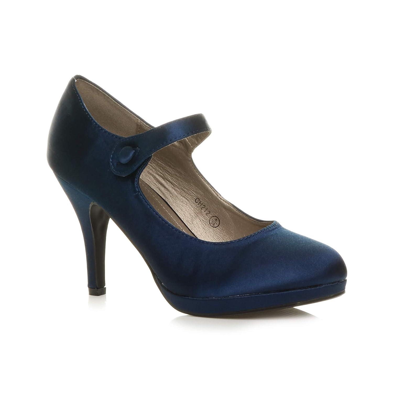 TALLA 37 EU. Ajvani - Zapatos para mujer con tacón medio-alto de estilo Mary Jane con pulsera, elegantes, de noche