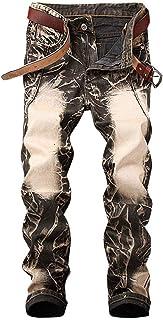 Anaisy Jeans Hip Hop retrò Rigidi Jeans Skinny Jeans Casual Moderna Vintage Enart Rigidi Pantaloni Stretch Slim Fit in Denim (Color : RetroGelb, Size : 38)