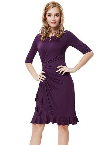Ever Pretty Half Sleeve Ruched Waist Ruffles Stretchy Wear to Work Dress 03900