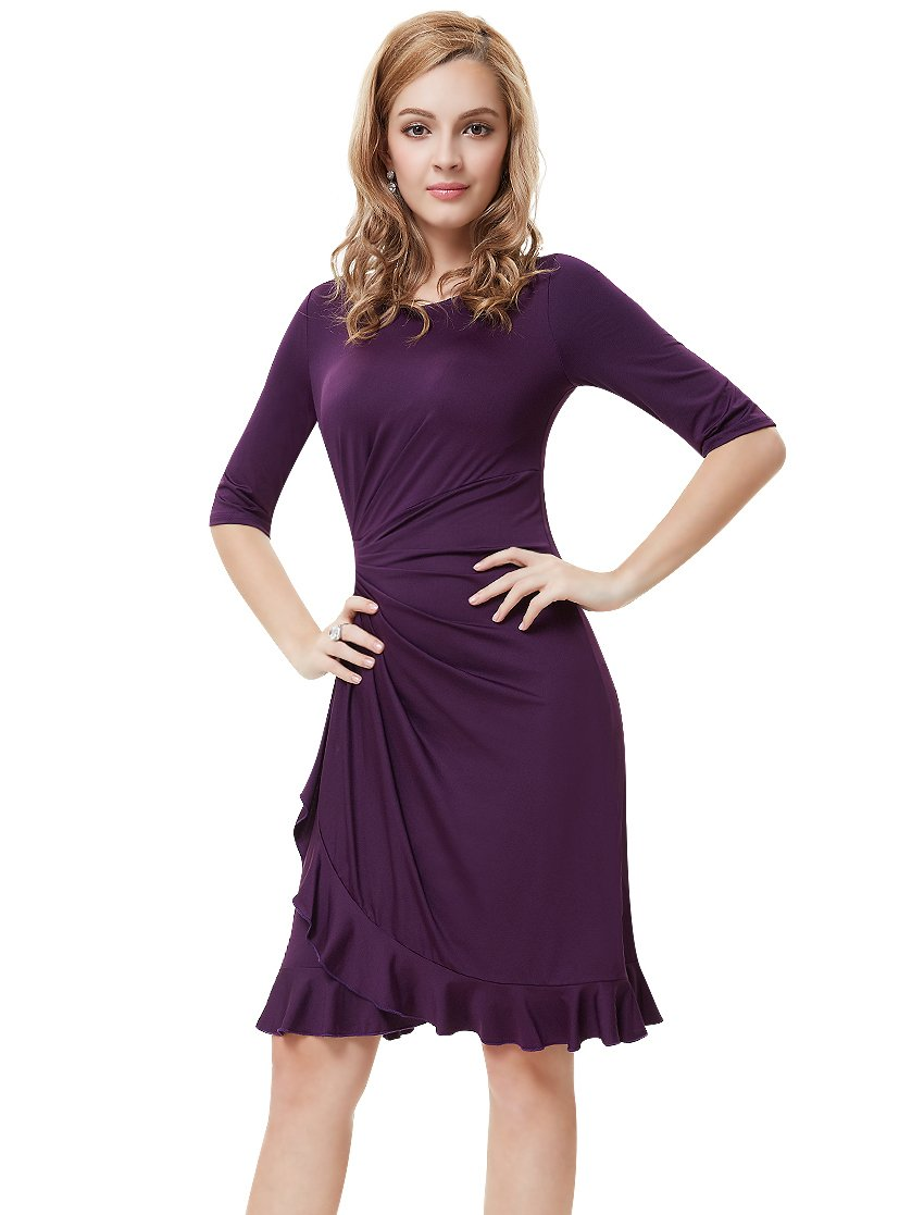 Ever-Pretty Womens Wedding Guest Dresses Knee Length 16 US Purple