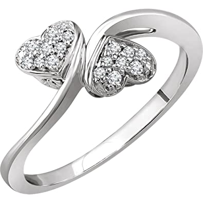 a6579ef96d102f Image Unavailable. Image not available for. Color: 10k White Gold Size 7  Polished 0.1 Dwt Diamond Heart Promise Ring