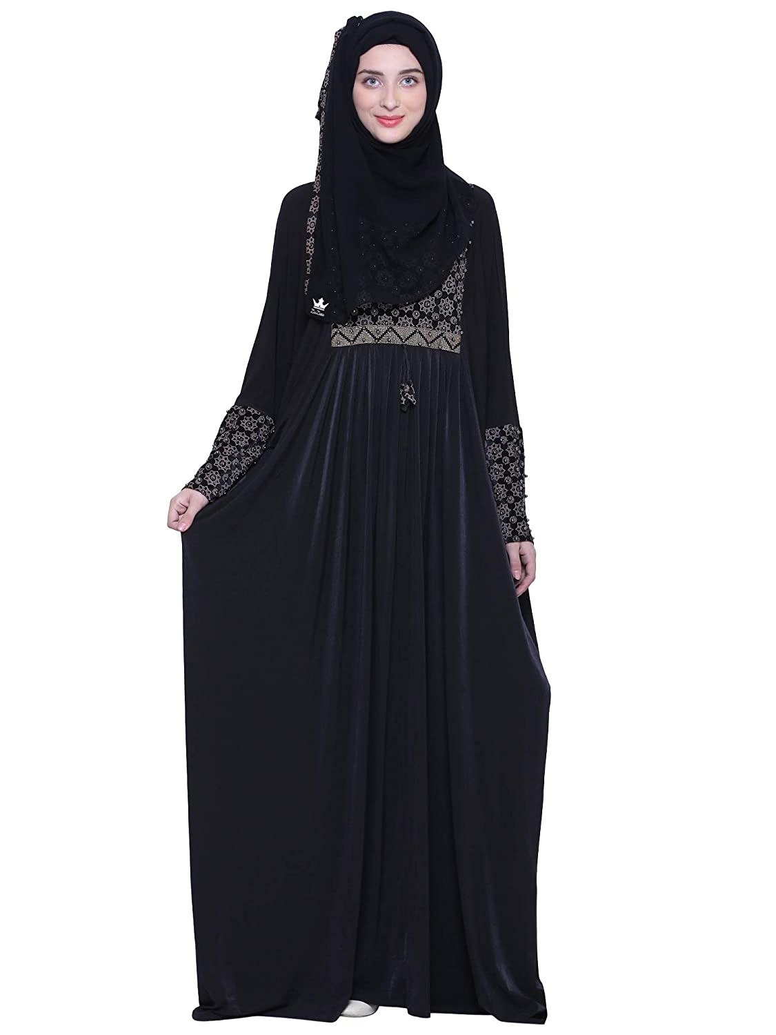 d5e1db35aa8e5 ZUZUU Women's Butterfly Style Crystal Lycra Dubai Girls Kaftan Stone And  Lace Work Abaya Burqa with Adjustable Belt And Hijab (Dupatta) and ...