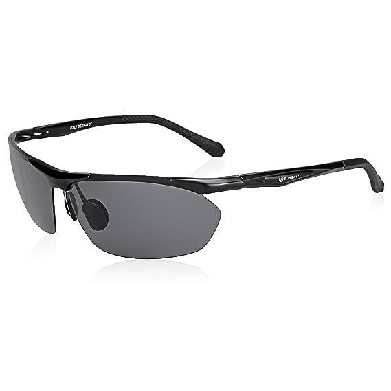 c6cddb728b SUNGAIT Men s Sport Polarized Sunglasses for Cycling Running Golf Athletic  - UV400 (Black Frame Gray