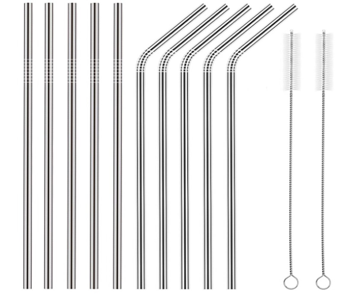 27Brands New Set Of 10 Reusable Stainless Steel Drinking Straws 8.5'' (5 Straight, 5 Bent & 2 Cleaning Brushes) – BPA Free Metal, Thick, Long, Dishwasher Safe – For Smoothies, Tumblers, Travel & More