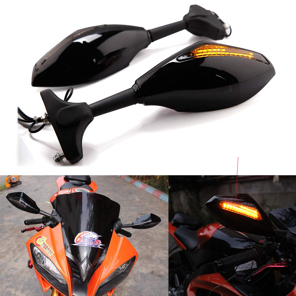 Motorcycle LED Turn Signal Light Side Rear View Mirrors for YAMAHA FZ6R YZF R6 R6S 600 FZR600 1000 honda Devilmotor