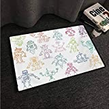 HCCJLCKS Entrance Door mat Doodle Drawings of Various Robots Performing a Number of Tasks Radar Waiter Guard Cleaner Non-Slip Door mat pad Machine can be Washed W16 xL24 Multicolor