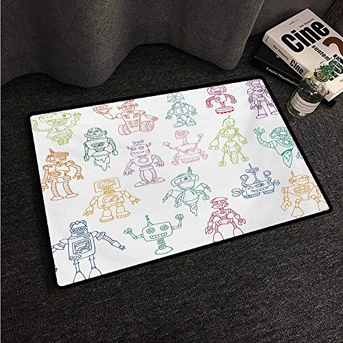 HCCJLCKS Washable Doormat Doodle Drawings of Various Robots Performing a Number of Tasks Radar Waiter Guard Cleaner Machine wash/Non-Slip W35 xL47 Multicolor