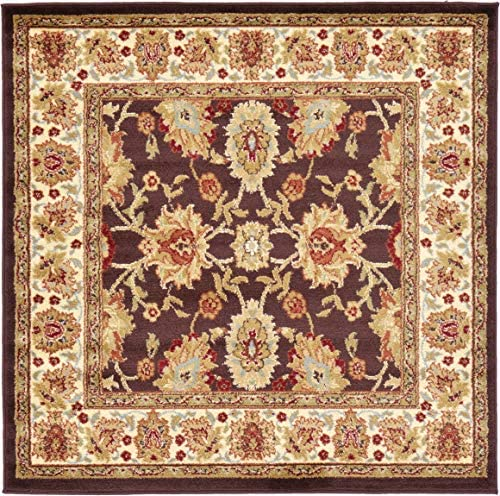 Unique Loom Voyage Collection Traditional Oriental Classic Brown Square Rug 4 0 x 4 0