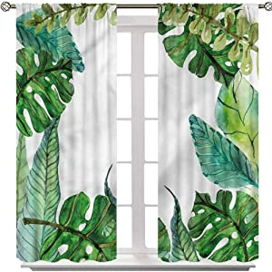 YUAZHOQI Leaf Window Curtains, Garden Botanical Herbal Forest, Set of 2 Panels W42 x L63 Thermal Insulated Blackout Drapes for Living Room