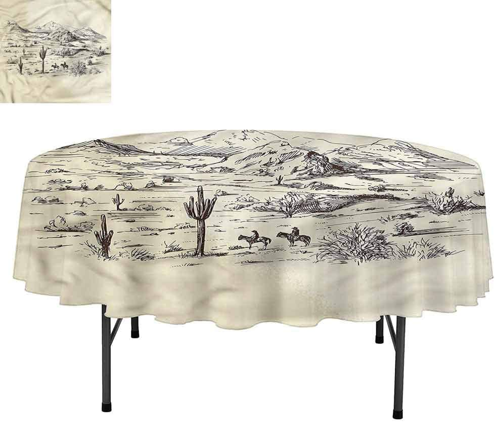 """Aishare Store Western Round Tablecloth, Wild West Cowboys, Water Resistant Spill Proof Tablecloths for Dining, Round 54"""""""