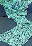 Holidayli Mermaid Tail Blanket for Adults Women Girls Teens, Handmade Crochet Mermaid Blankets, Soft Birthday Valentines gift 74x35 Mint Green